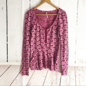 4/$25 • Free People • Lace Open Knit Peplum Long